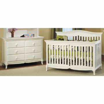 Pali Mantova 2 Piece Nursery Set in White - Crib & Double Dresser