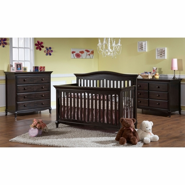 Pali Mantova 3 Piece Nursery Set in Onyx - Crib, Double Dresser & 4 Drawer Dresser
