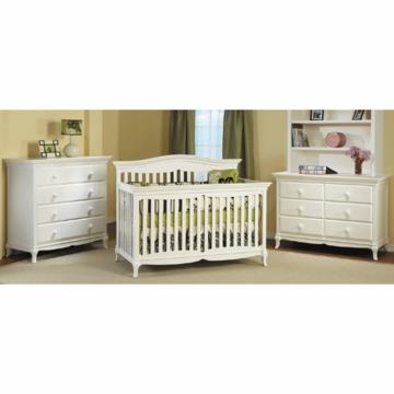 Pali Mantova 3 Piece Nursery Set in White - Crib, Double Dresser & 4 Drawer Dresser