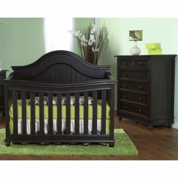 Pali Marina 2 Piece Nursery Set in Onyx - Forever Crib & 5 Drawer Dresser