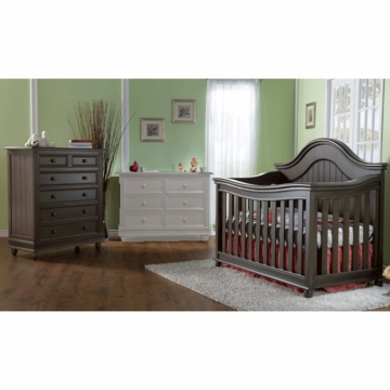 Pali Marina 2 Piece Nursery Set in Slate - Forever Crib & 5 Drawer Dresser