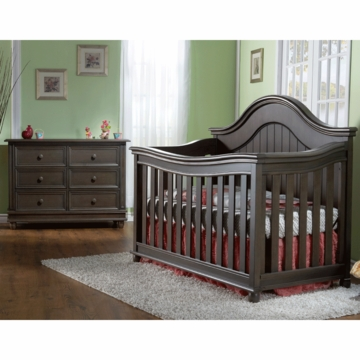 Pali Marina 2 Piece Nursery Set in Slate - Forever Crib & Double Dresser