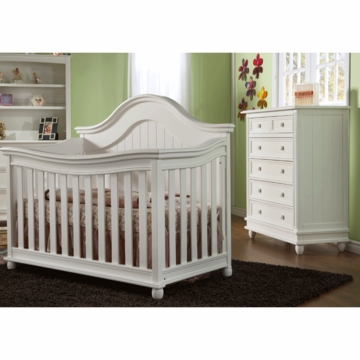 Pali Marina 2 Piece Nursery Set in White - Forever Crib & 5 Drawer Dresser