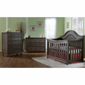 Pali Marina 3 Piece Nursery Set in Slate - Forever Crib, Double Dresser & 5 Drawer Dresser