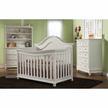 Pali Marina 3 Piece Nursery Set in White - Forever Crib, Double Dresser & 5 Drawer Dresser