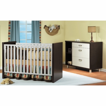 Pali Milano 2 Piece Nursery Set in Mocacchino/White - Crib & Dressing Chest