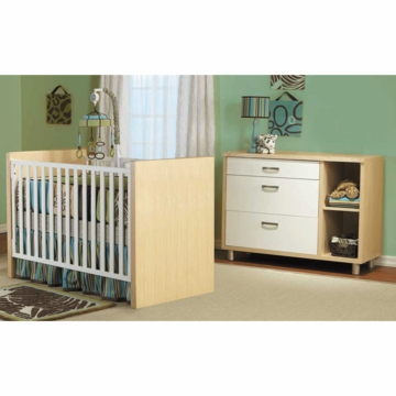 Pali Milano 2 Piece Nursery Set in White/Natural - Crib & Dressing Chest