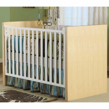 Pali Milano Crib with Toddler Rail in White/Natural