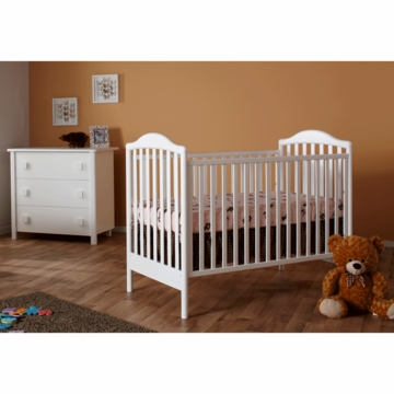 Pali Norma 2 Piece Nursery Set in White - Crib & 3 Drawer Dresser