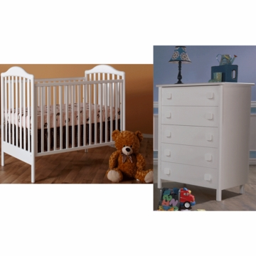 Pali Norma 2 Piece Nursery Set in White - Crib & 5 Drawer Dresser