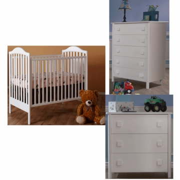 Pali Norma 3 Piece Nursery Set in White - Crib, 3 Drawer Dresser & 5 Drawer Dresser
