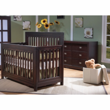 Pali Novara 2 Piece Nursery Set in Mocacchino - Forever Crib & Double Dresser