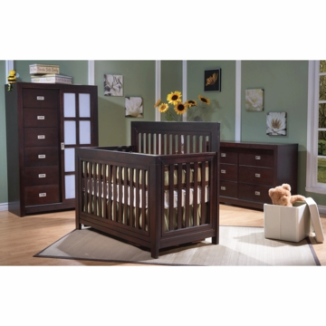 Pali Novara 3 Piece Nursery Set in Mocacchino - Forever Crib, Armoire & Double Dresser