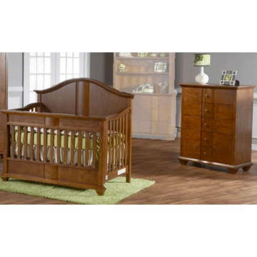 Pali Onda 2 Piece Nursery Set in Walnut - Forever Crib & 5 Drawer Dresser