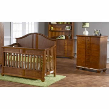 Pali Onda 3 Piece Nursery Set in Walnut - Forever Crib, Double Dresser & 5 Drawer Dresser