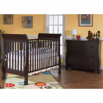 Pali Rosa 2 Piece Nursery Set in Mocacchino - Crib & 3 Drawer Dresser