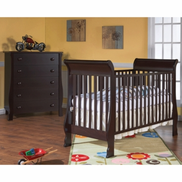 Pali Rosa 2 Piece Nursery Set in Mocacchino - Crib & 5 Drawer Dresser