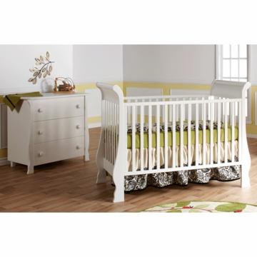 Pali Rosa 2 Piece Nursery Set in White - Crib & 3 Drawer Dresser