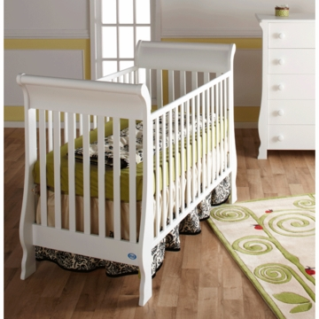Pali Rosa 2 Piece Nursery Set in White - Crib & 5 Drawer Dresser