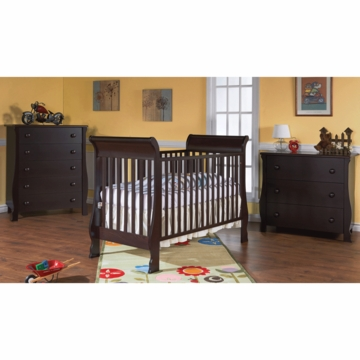 Pali Rosa 3 Piece Nursery Set in Mocacchino - Crib, 3 Drawer Dresser & 5 Drawer Dresser