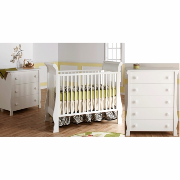 Pali Rosa 3 Piece Nursery Set in White - Crib, 3 Drawer Dresser & 5 Drawer Dresser