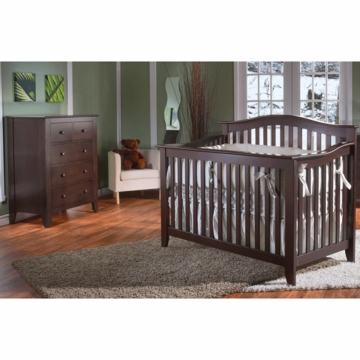 Pali Salerno 2 Piece Crib Set in Mocacchino - Forever Crib & 5 Drawer Dresser