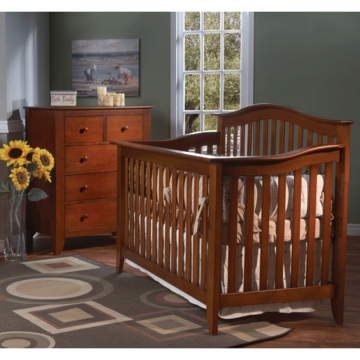 Pali Salerno 2 Piece Crib Set in Sienna - Forever Crib & 5 Drawer Dresser