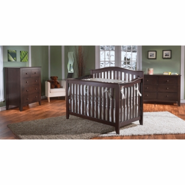Pali Salerno 3 Piece Crib Set in Mocacchino - Forever Crib, Double Dresser & 5 Drawer Dresser