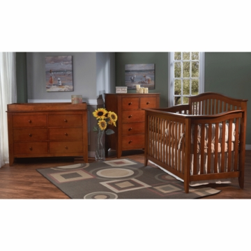 Pali Salerno 3 Piece Crib Set in Sienna - Forever Crib, Double Dresser & 5 Drawer Dresser