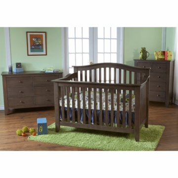 Pali Salerno 3 Piece Crib Set in Slate - Forever Crib, Double Dresser & 5 Drawer Dresser