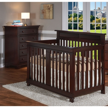 Pali Torino 2 Piece Nursery Set in Mocacchino - Crib & 5 Drawer Dresser