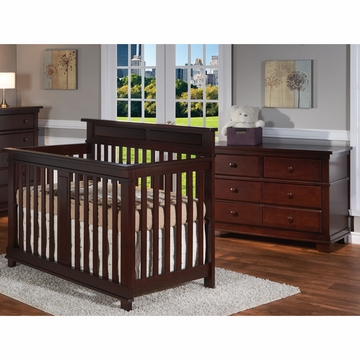 Pali Torino 2 Piece Nursery Set in Mocacchino - Crib & Double Dresser