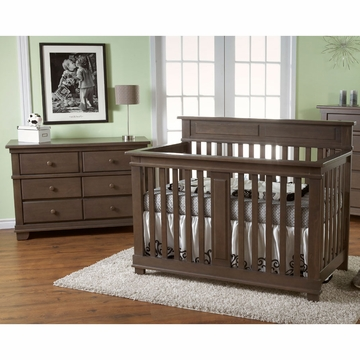 Pali Torino 2 Piece Nursery Set in Slate - Crib & Double Dresser