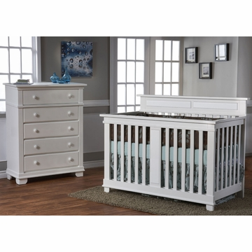 Pali Torino 2 Piece Nursery Set in White - Crib & 5 Drawer Dresser