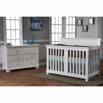 Pali Torino 2 Piece Nursery Set in White - Crib & Double Dresser