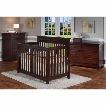 Pali Torino 3 Piece Nursery Set in Mocacchino - Crib, Double Dresser & 5 Drawer Dresser