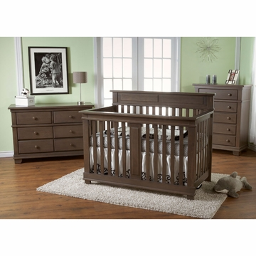 Pali Torino 3 Piece Nursery Set in Slate - Crib, Double Dresser & 5 Drawer Dresser