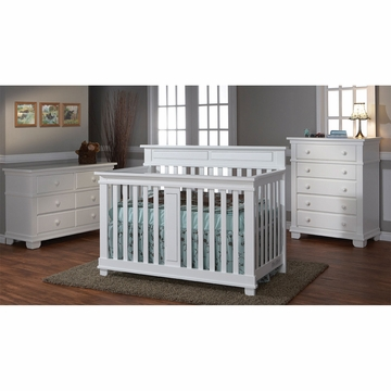 Pali Torino 3 Piece Nursery Set in White - Crib, Double Dresser & 5 Drawer Dresser