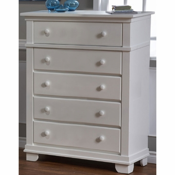 Pali Torino Series 5 Drawer Dresser in White