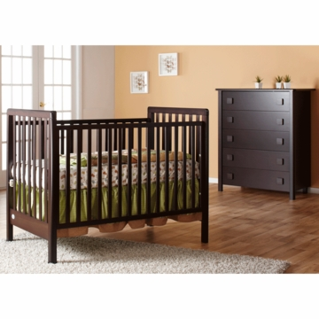 Pali Tosca 2 Piece Nursery Set in Mocacchino - Crib & 5 Drawer Dresser
