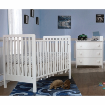Pali Tosca 2 Piece Nursery Set in White - Crib & 3 Drawer Dresser