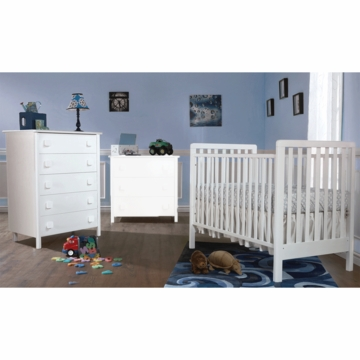 Pali Tosca 2 Piece Nursery Set in White - Crib & 5 Drawer Dresser