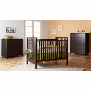 Pali Tosca 3 Piece Nursery Set in Mocacchino - Crib, 3 Drawer Dresser & 5 Drawer Dresser