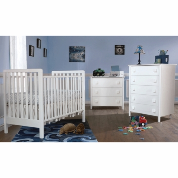 Pali Tosca 3 Piece Nursery Set in White - Crib, 3 Drawer Dresser & 5 Drawer Dresser