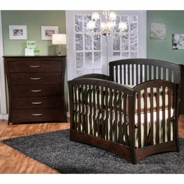Pali Trieste 2 Piece Nursery Set in Mocacchino - Forever Crib & 5 Drawer Dresser