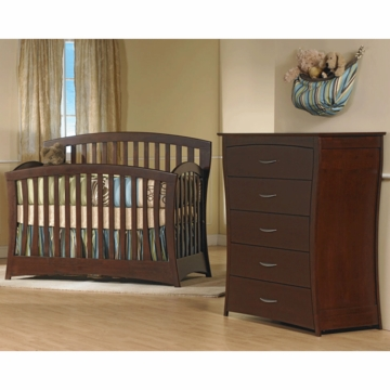 Pali Trieste 2 Piece Nursery Set in Vintage Cherry - Forever Crib & 5 Drawer Dresser