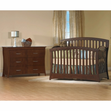 Pali Trieste 2 Piece Nursery Set in Vintage Cherry - Forever Crib & Double Dresser