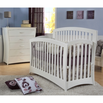 Pali Trieste 2 Piece Nursery Set in White - Forever Crib & 5 Drawer Dresser