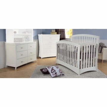 Pali Trieste 2 Piece Nursery Set in White - Forever Crib & Double Dresser
