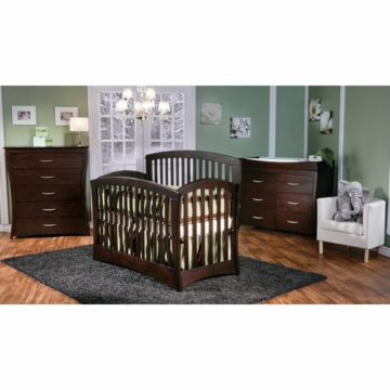 Pali Trieste 3 Piece Nursery Set in Mocacchino - Forever Crib, Double Dresser & 5 Drawer Dresser